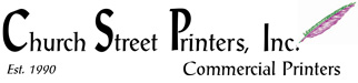 This is the logo for Church Street Printers, Inc., which is located in Northport, NY